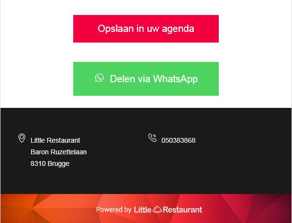 Nodig vrienden uit via WhatsApp of voeg de reservering toe aan een digitale kalender!