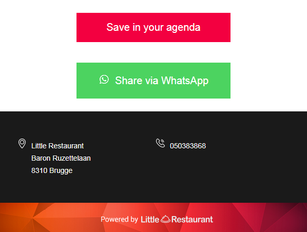 Invite friends via WhatsApp or add the reservation to a digital calendar!